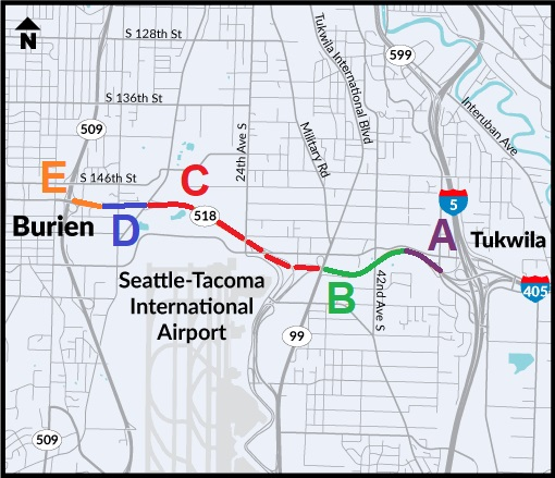 SR 518 map with letters denoting areas west to east.